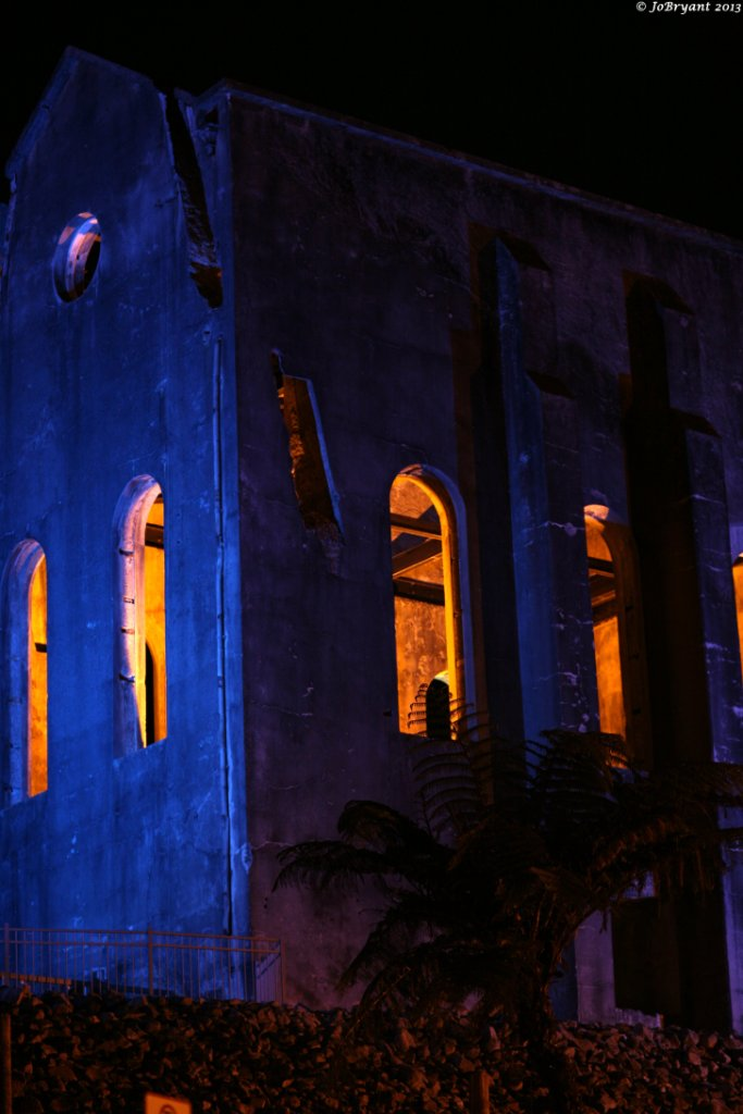 Waihi Cornish Pumphouse illuminated