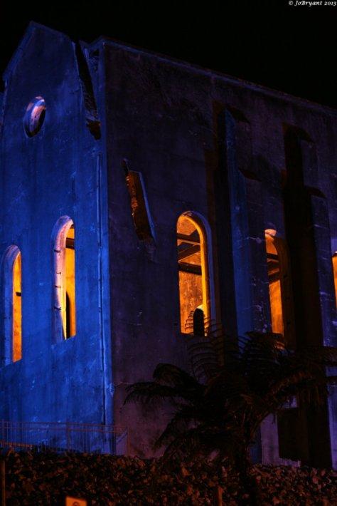 Waihi Cornish Pumphouse illuminated