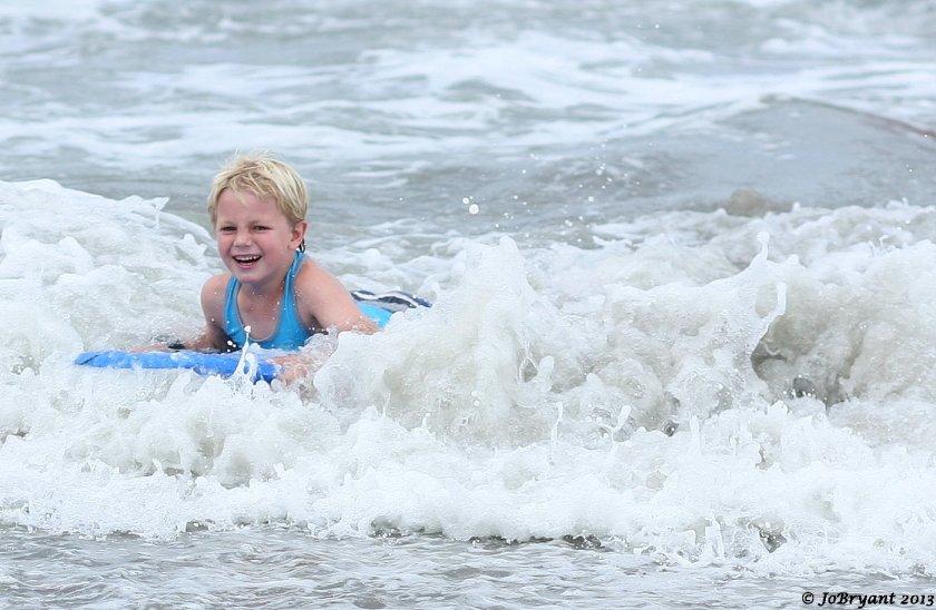 child body board surfing