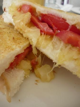 Pineapple, cheese and tomato toastie