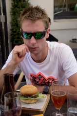 The birthday boy with his beef burger.