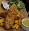 Cider and dill battered fish, hand cut agrias, crushed peas, tartar sauce, watercress salad
