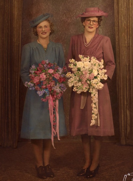 Auntie Ed is in the blue. My Auntie Rita's [next to her] wedding day.