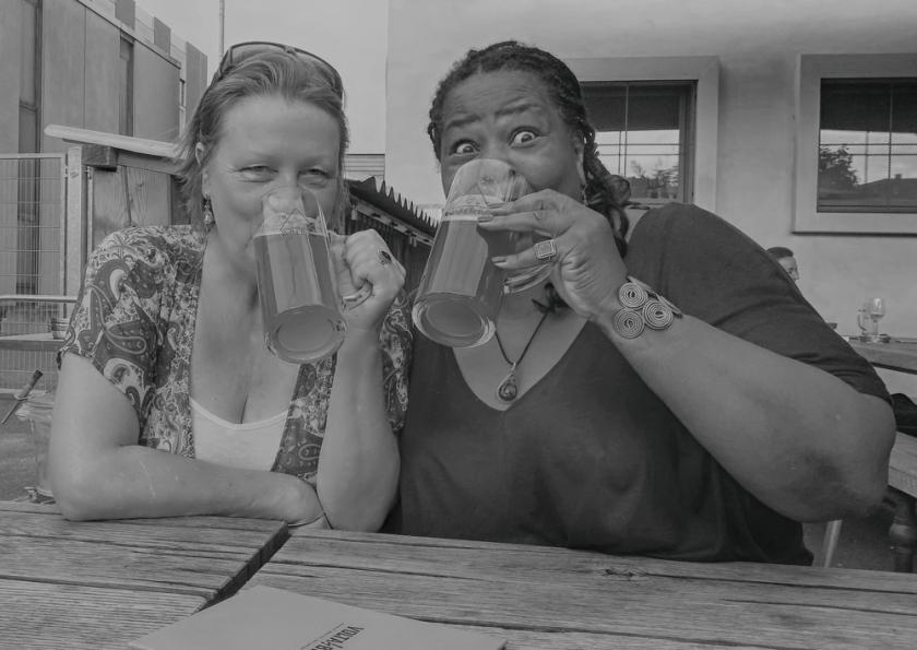 Em and I enjoying a Swiss beer.